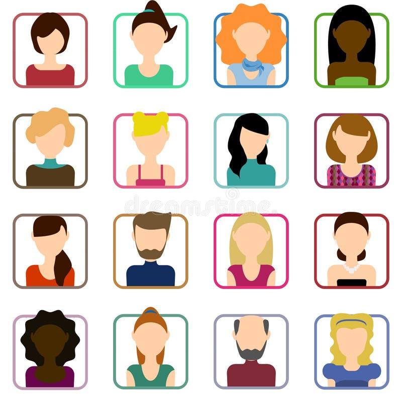 Плоские установленные значки людей Плоский комплект женских значков Плоский комплект мужских значков иллюстрация вектора