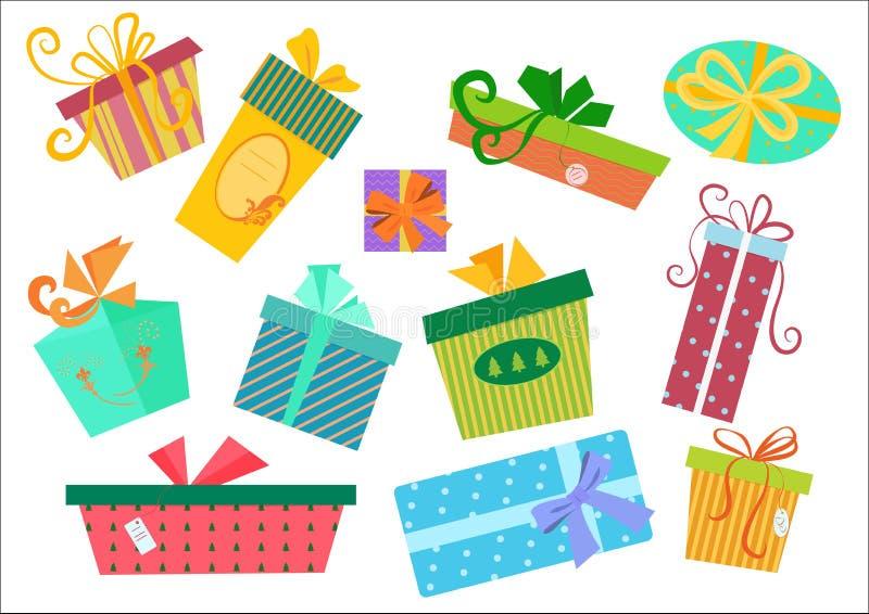 Плоские установленные коробки подарков дизайна Подарочная коробка вектора присутствующая с лентой бесплатная иллюстрация