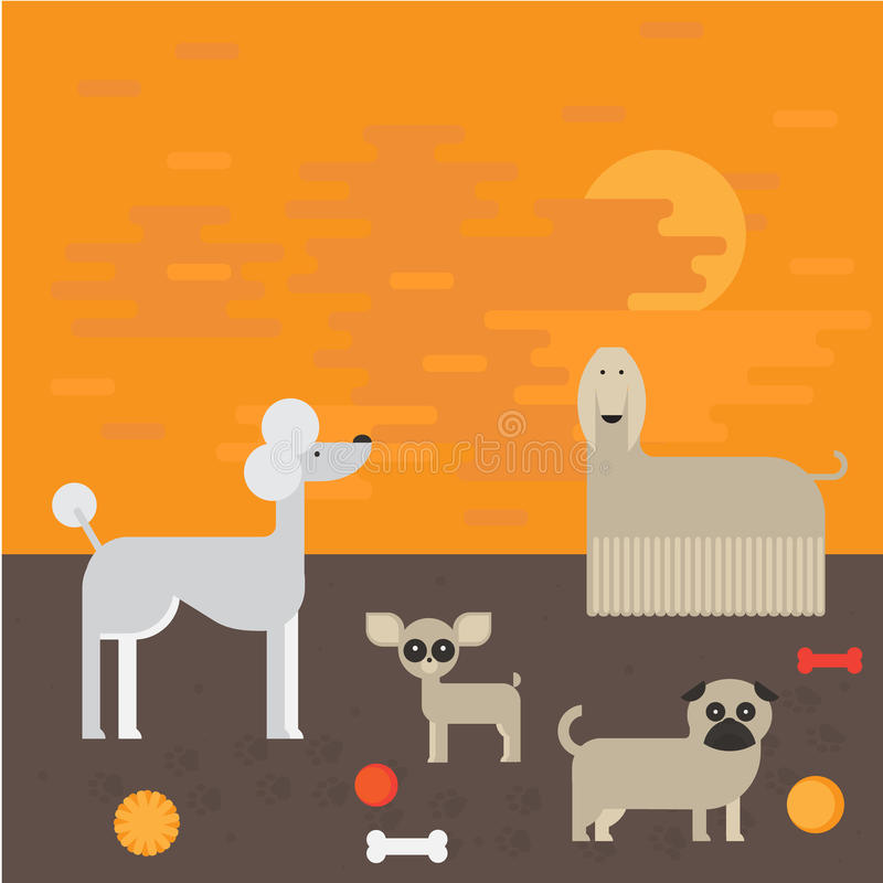 Плоские характеры собаки установили, чихуахуа собрания домашнего животного шаржа, мопс и afgan борзая на прогулке бесплатная иллюстрация