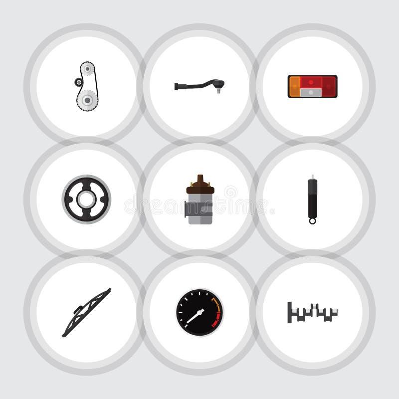 Плоские части значка установленные пояса, Tachometr, валов сталей и других объектов вектора Также включает скорость, сталь, криво бесплатная иллюстрация