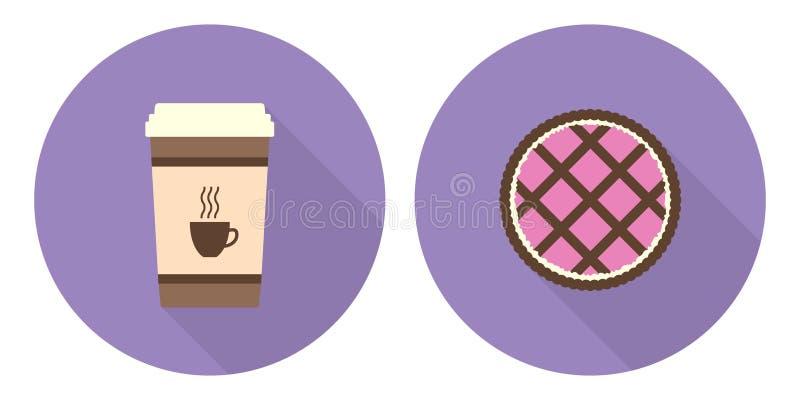 Плоские чашка кофе и пирог вектора иллюстрация штока