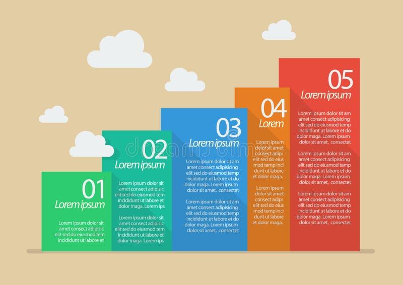 Плоские шаги стиля 5 infographic бесплатная иллюстрация