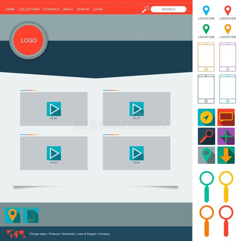 Плоские элементы веб-дизайна Шаблоны для вебсайта иллюстрация вектора
