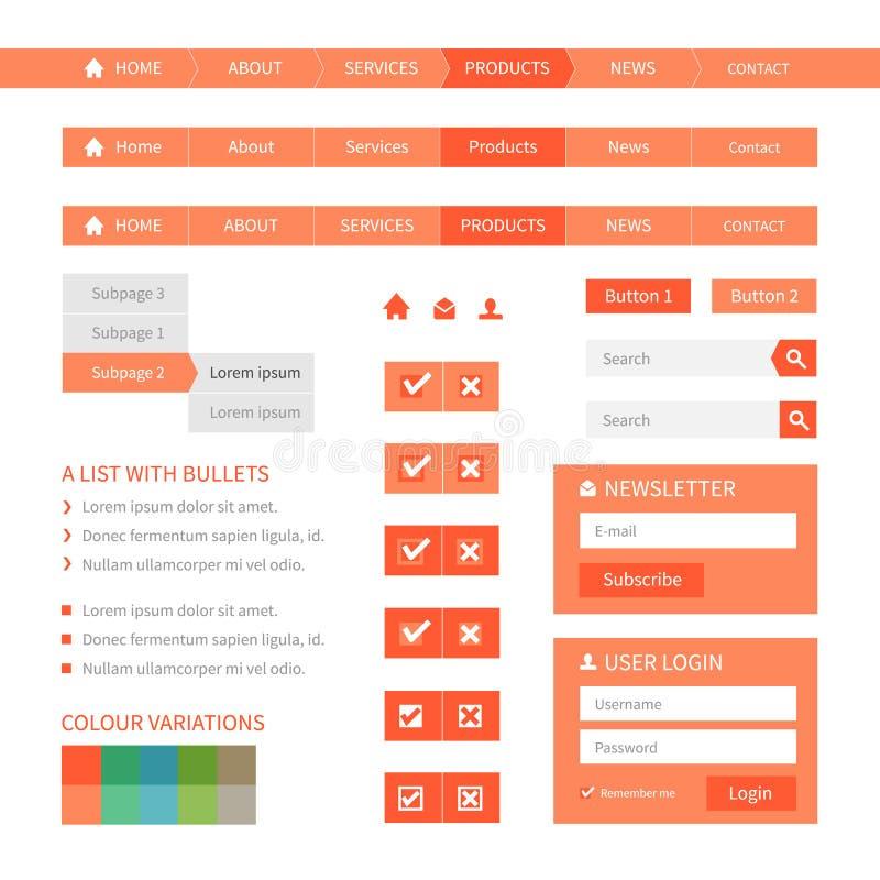 Плоские элементы веб-дизайна иллюстрация вектора