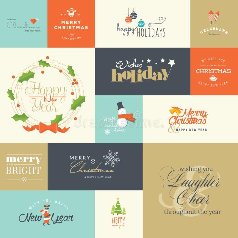 Плоские элементы дизайна для поздравительные открытки рождества и Нового Года иллюстрация вектора