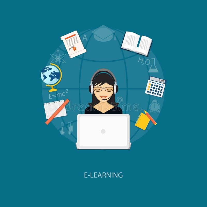 Плоские элементы образования с девушкой бесплатная иллюстрация
