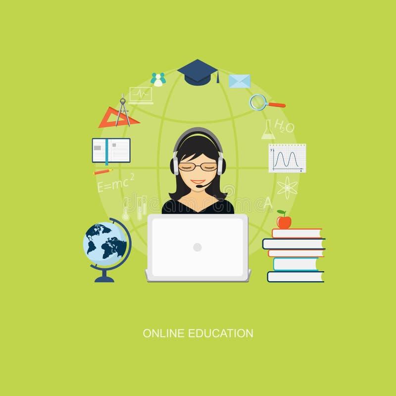 Плоские элементы образования с девушкой иллюстрация вектора