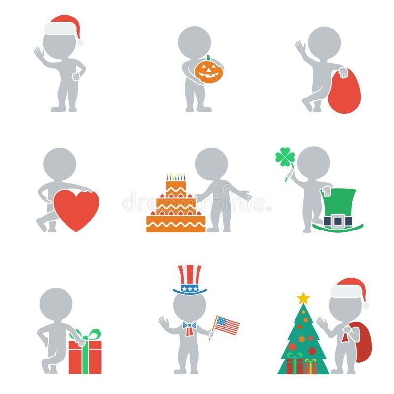 Плоские люди - праздники иллюстрация вектора