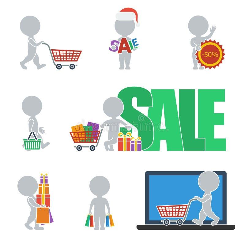 Плоские люди - продажа иллюстрация вектора