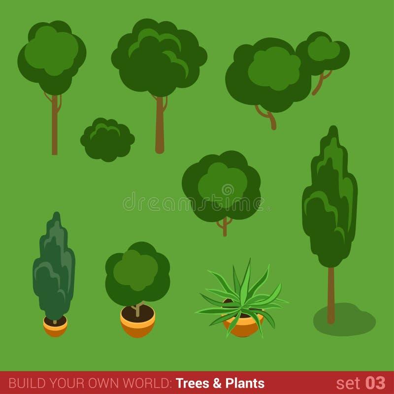 Плоские 3d равновеликие деревья, кусты, комплект значка заводов бесплатная иллюстрация