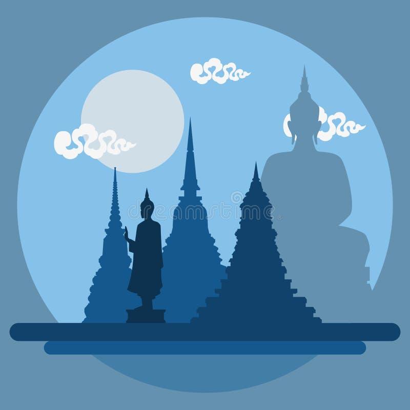 Плоский ландшафт дизайна виска Таиланда иллюстрация вектора