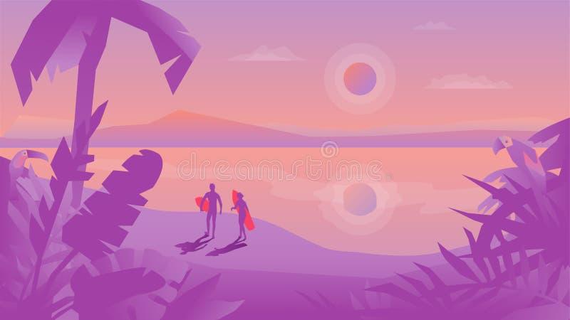 Плоский ландшафт дизайна с парами серферов с surfbo иллюстрация штока