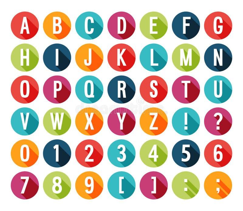 Плоский алфавит значков. иллюстрация вектора