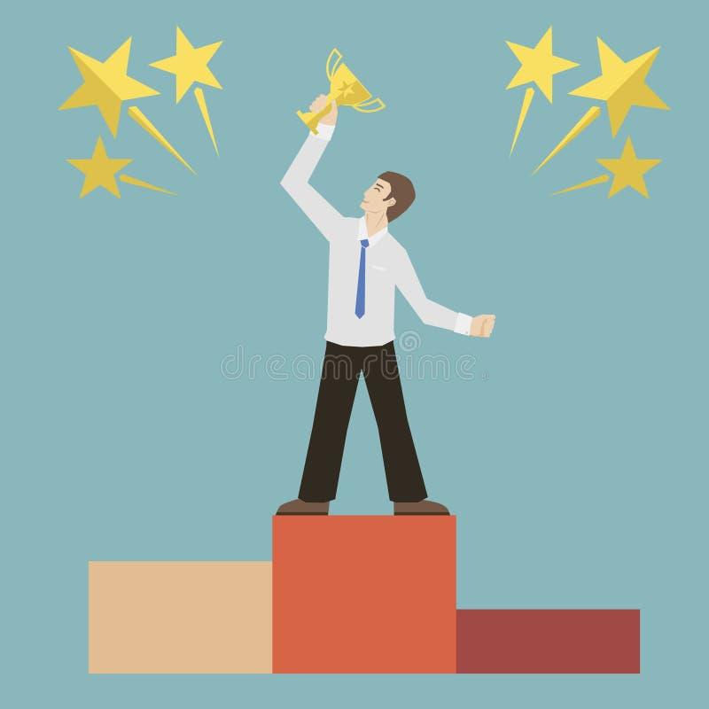 Download Плоский бизнесмен стиля дизайна держа золотым Иллюстрация вектора - иллюстрации насчитывающей плоско, достижения: 37926646