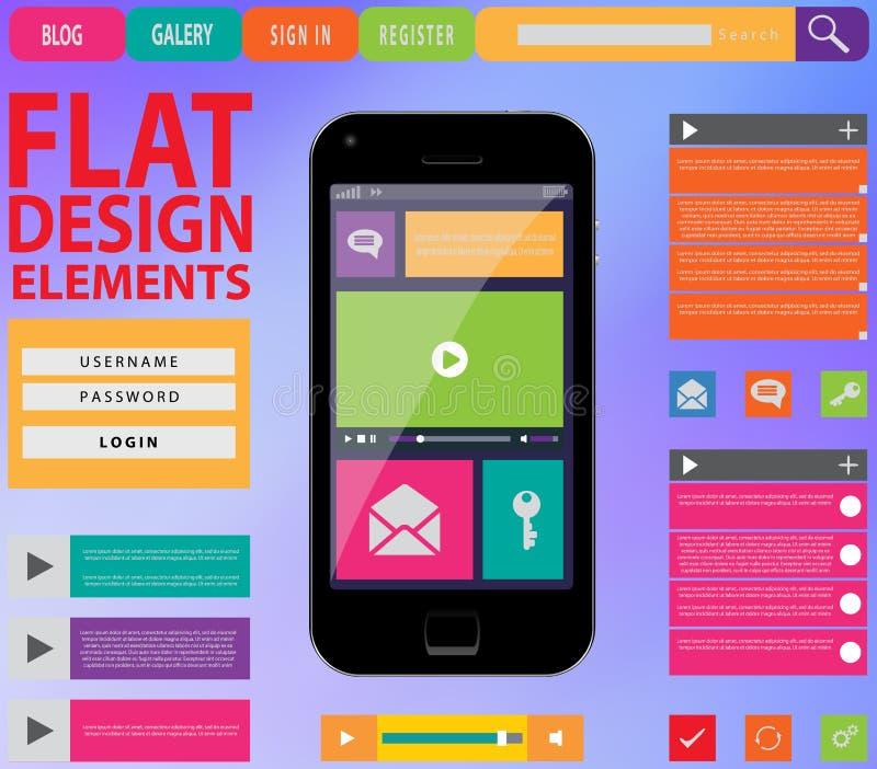 Плоский веб-дизайн, элементы, кнопки, значки иллюстрация штока