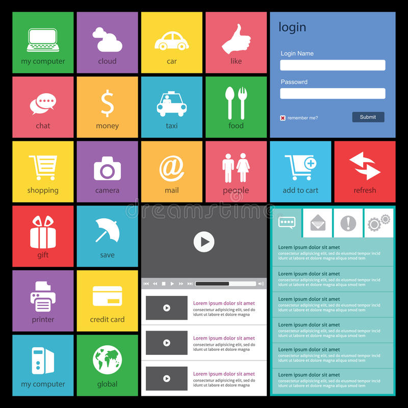 Плоский веб-дизайн, элементы, кнопки, значки. Templat иллюстрация штока