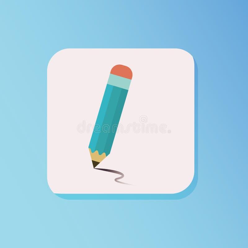 Плоский вектор стиля значка притяжки карандаша иллюстрация вектора