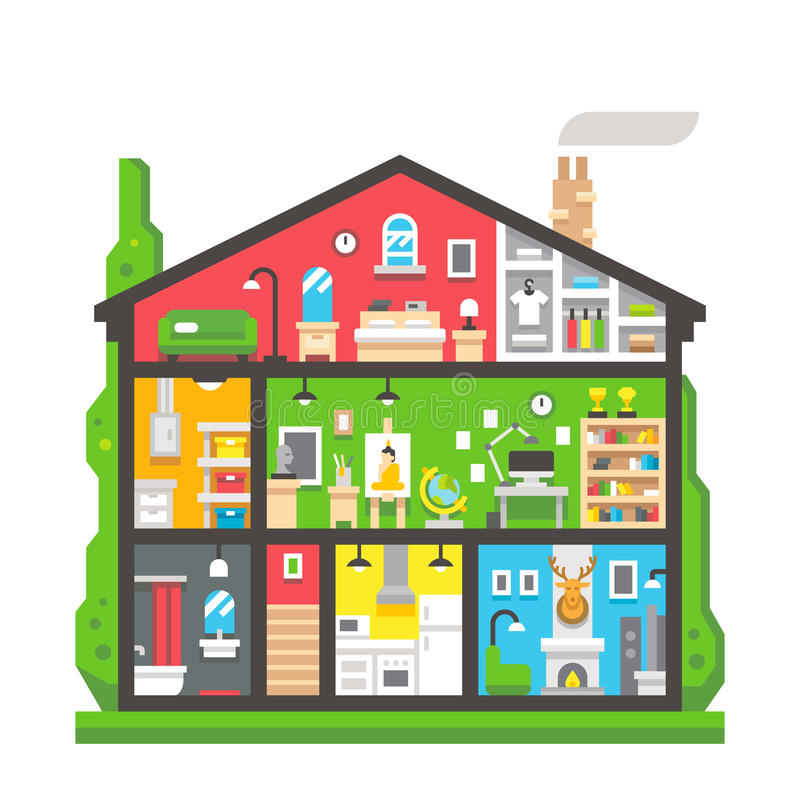 Плоский взгляд со стороны интерьера дома дизайна бесплатная иллюстрация