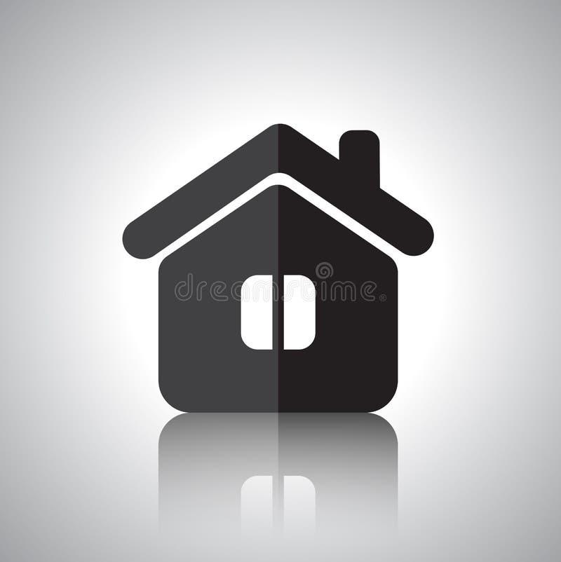 Плоский значок дома с отражением иллюстрация штока
