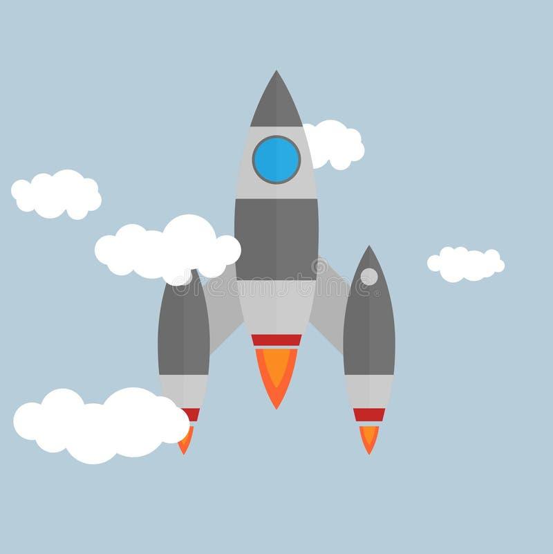 Плоский значок ракеты Startup концепция Разработка проекта бесплатная иллюстрация