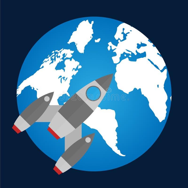 Плоский значок ракеты Startup концепция Разработка проекта иллюстрация вектора