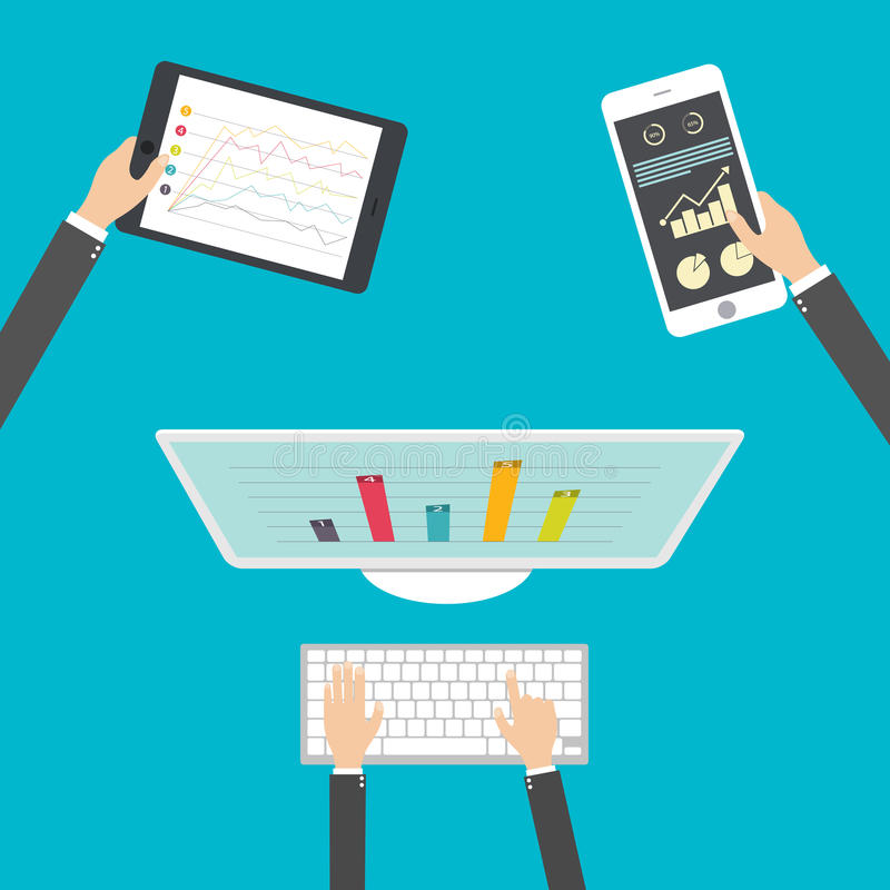 Плоский дизайн, аналитик и программируя вектор Оптимизирование веб-приложение иллюстрация штока