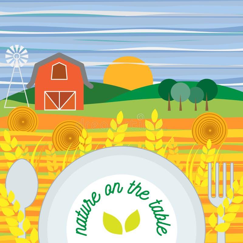 Плоский дизайн вегетарианской еды, здоровой еды и di овощей бесплатная иллюстрация