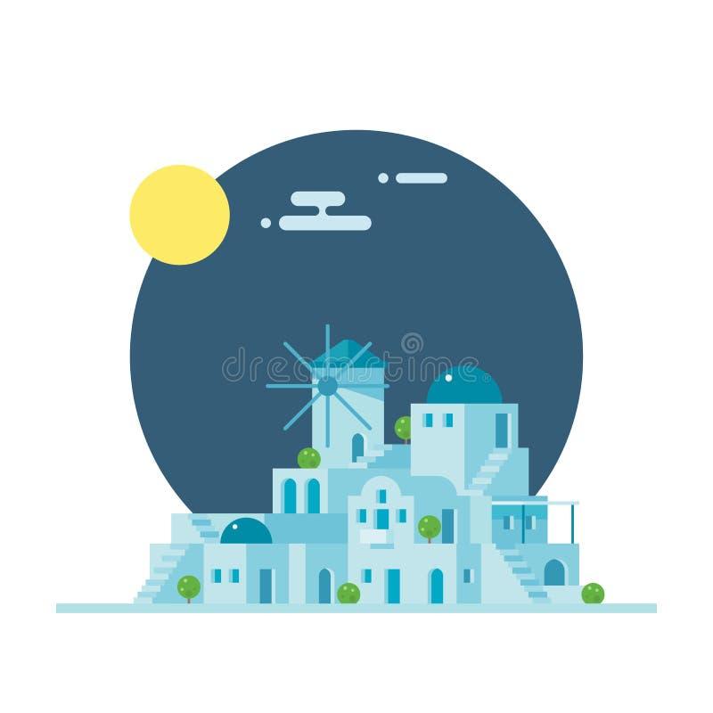 Плоский дизайн деревни Santorini Греции иллюстрация вектора