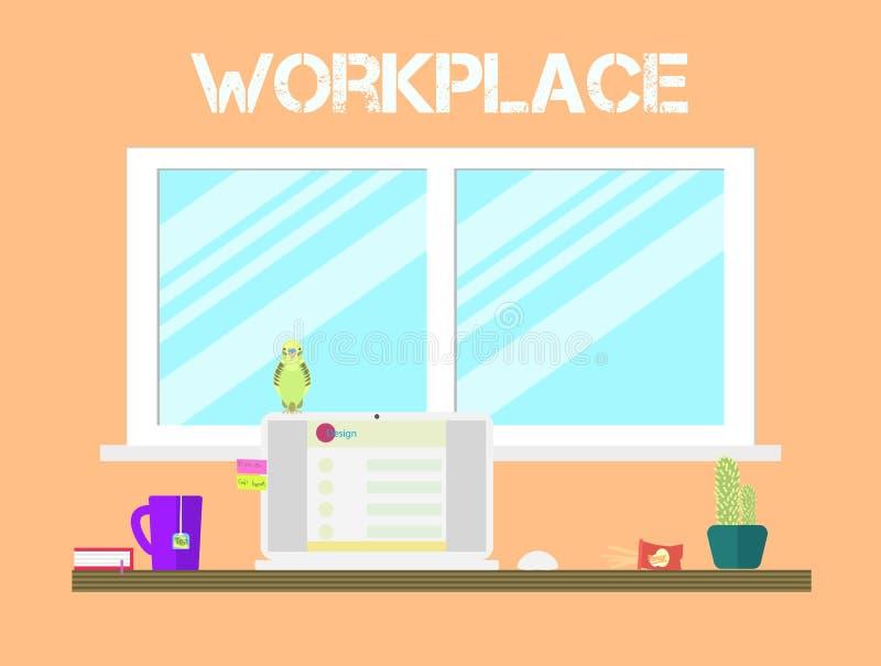 Плоский дизайн значков места для работы стиля Рабочее место и иллюстрация вектора