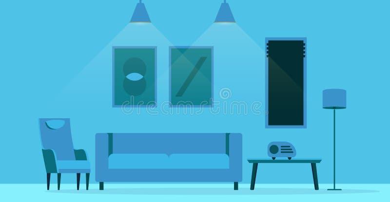 Плоский дизайн интерьера живущей комнаты стиля стоковые изображения