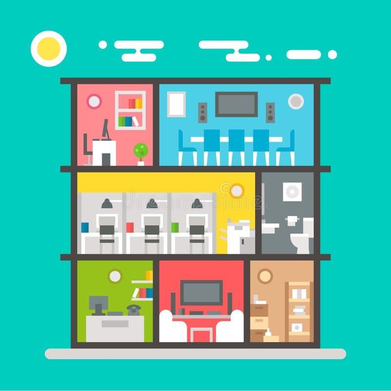 Плоский дизайн интерьера офиса бесплатная иллюстрация