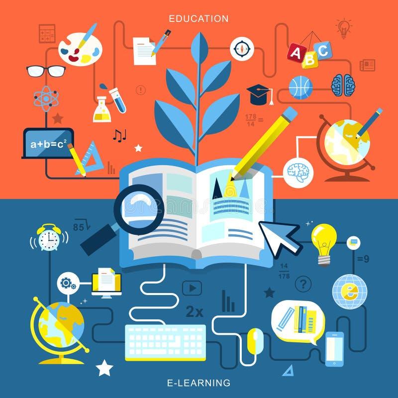 Плоский дизайн образования и обучения по Интернетуу иллюстрация вектора
