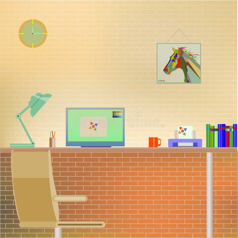 Плоский дизайн современного интерьера офиса с Compute иллюстрация вектора