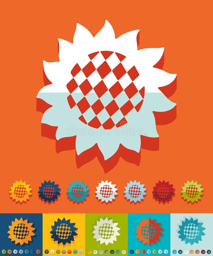 Плоский дизайн Солнцецвет иллюстрация вектора