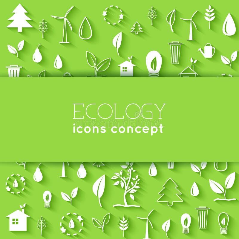 Плоский дизайн экологичности, окружающей среды, зеленой очищает иллюстрация штока