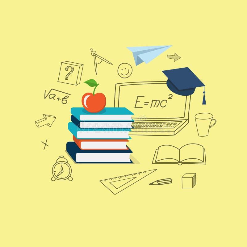 Плоский дизайн для онлайн образования иллюстрация вектора