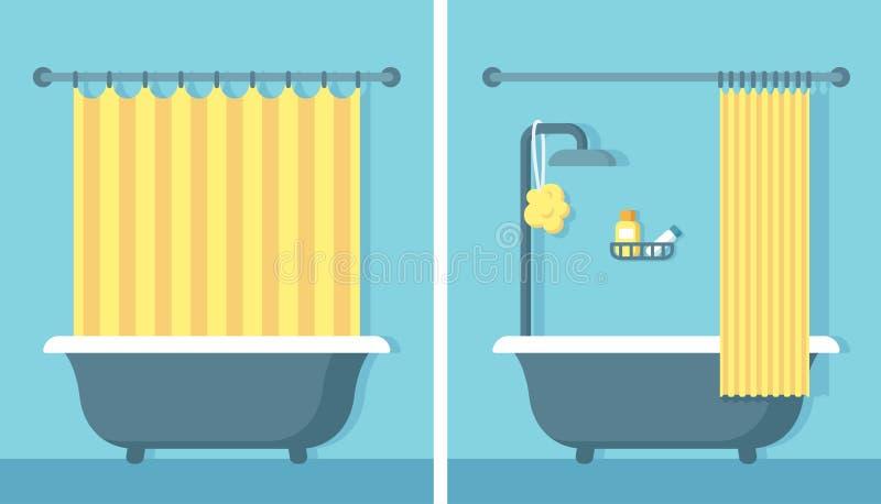 Плоский интерьер ванной комнаты иллюстрация штока