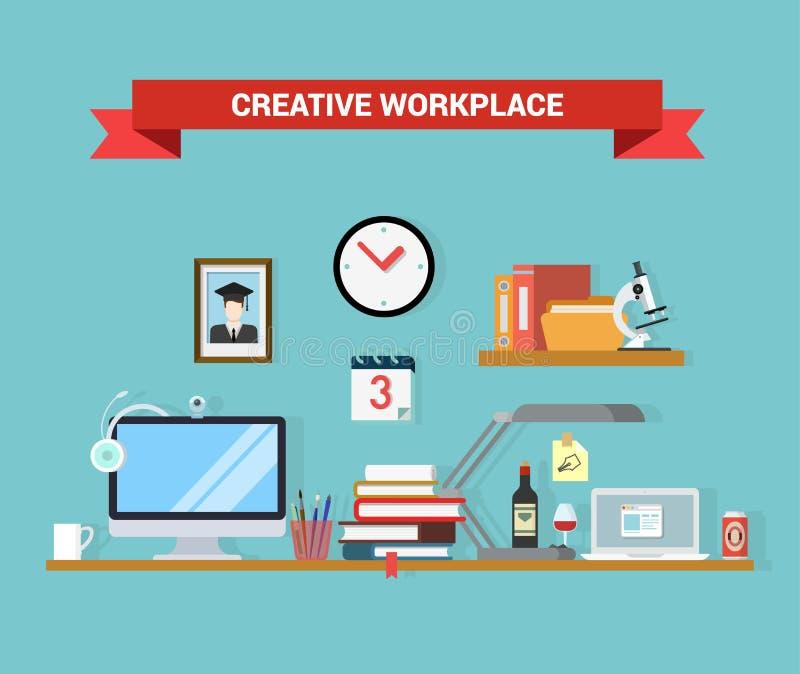 Плоский интерьер рабочего места домашнего офиса вектора: книги таблицы компьютера иллюстрация штока
