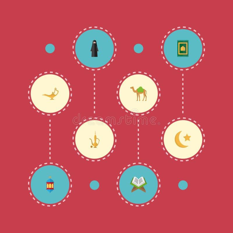 Плоский ковер молитве значков, дромадер, мусульманская женщина и другие элементы вектора Комплект символов значков вероисповедани иллюстрация штока