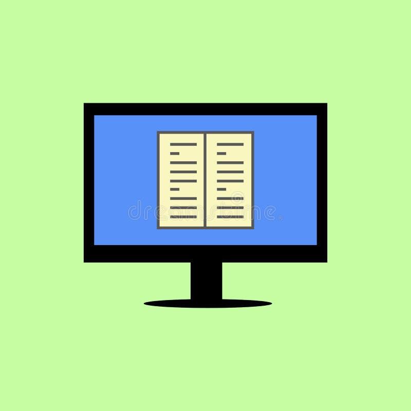 Плоский компьютер стиля с книгой бесплатная иллюстрация