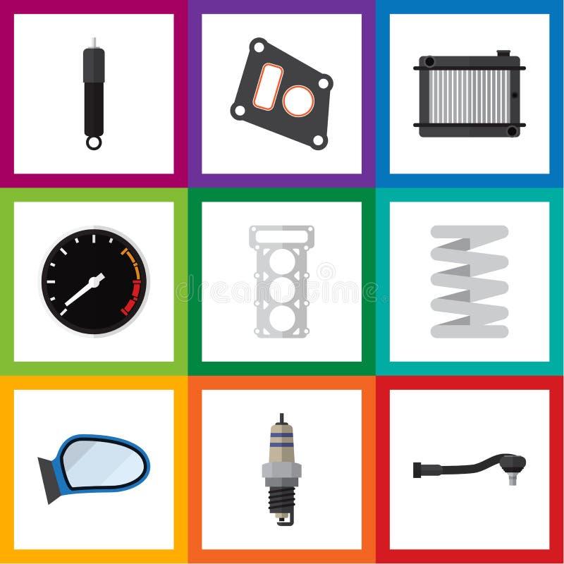 Плоский комплект автомобиля значка подогревателя, упаковки, Input технологии и других объектов вектора Также включает скорость, п бесплатная иллюстрация