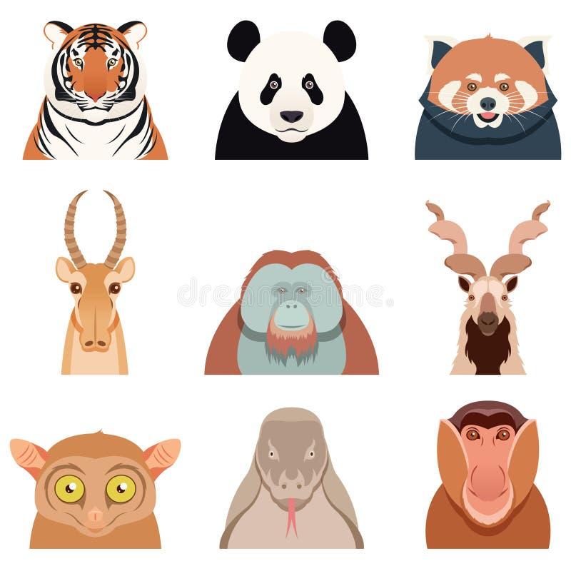 Плоский комплект азиатских животных иллюстрация штока