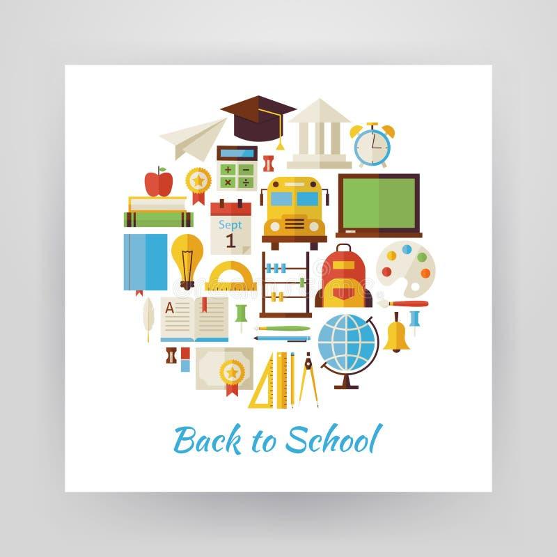 Плоский комплект вектора круга стиля назад к школе и образованию Obj бесплатная иллюстрация