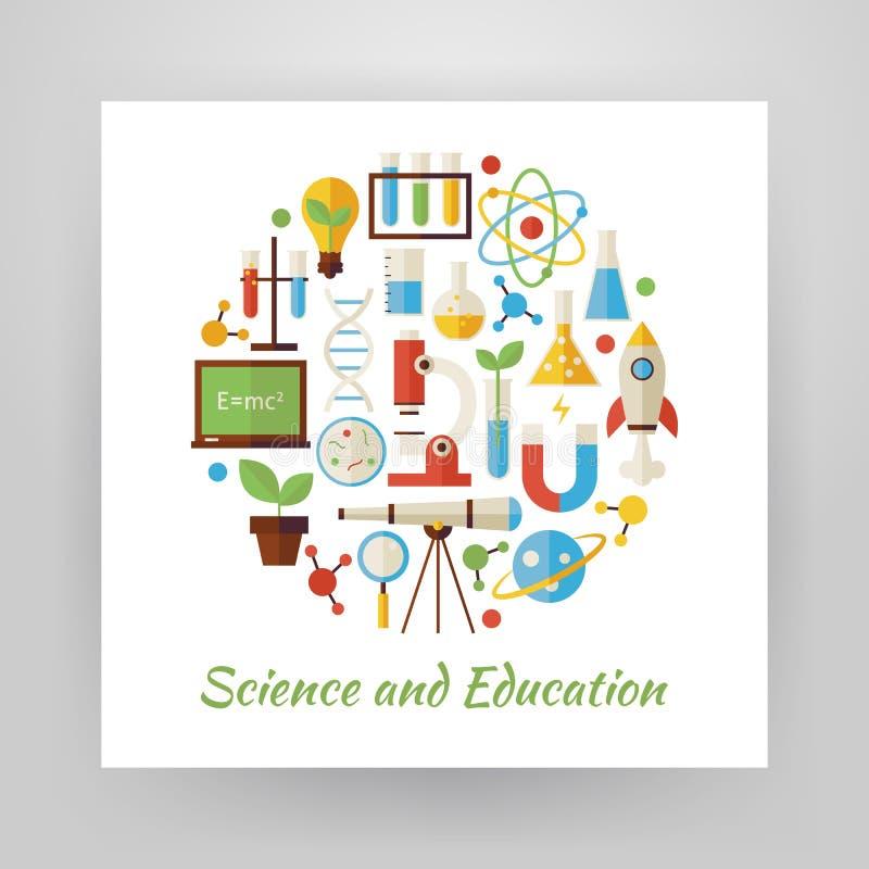 Плоский комплект вектора круга стиля науки и образования возражает ov иллюстрация вектора