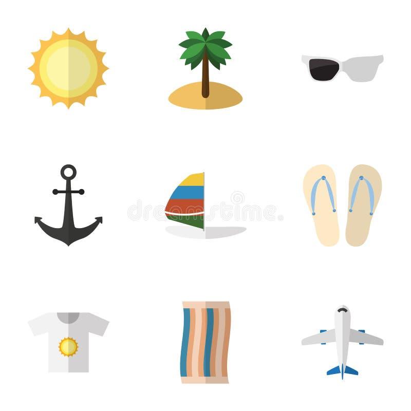 Плоский комплект лета значка счищателя, зрелищ, объектов вектора сандалий пляжа Также включает сальто, самолет, элементы полотенц иллюстрация штока
