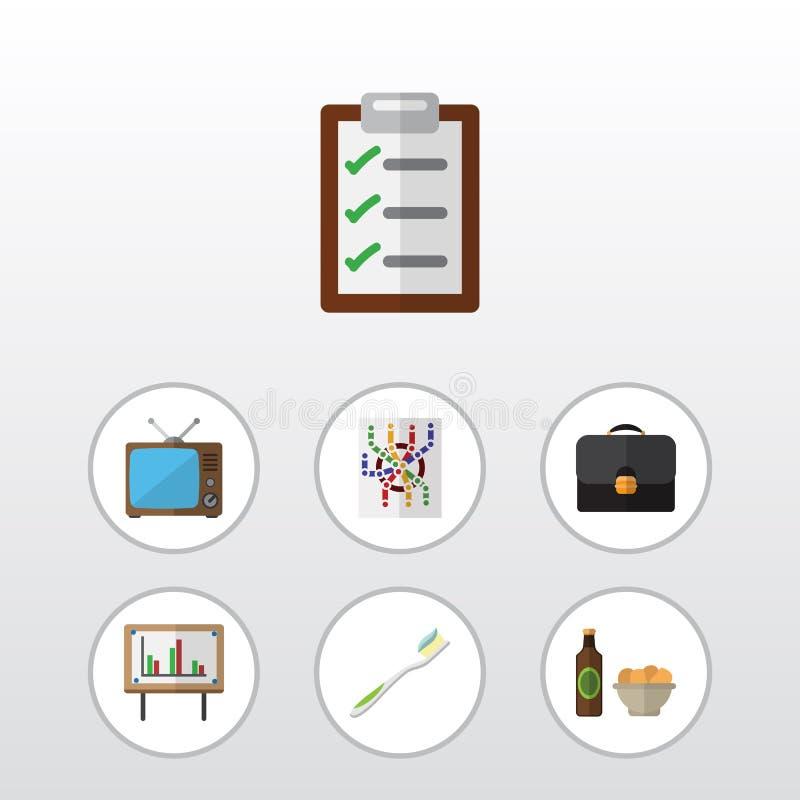 Плоский комплект жизни значка портфеля, пива с объектами обломоков, зубоврачебных и другого вектора Также включает форму, телевид иллюстрация штока