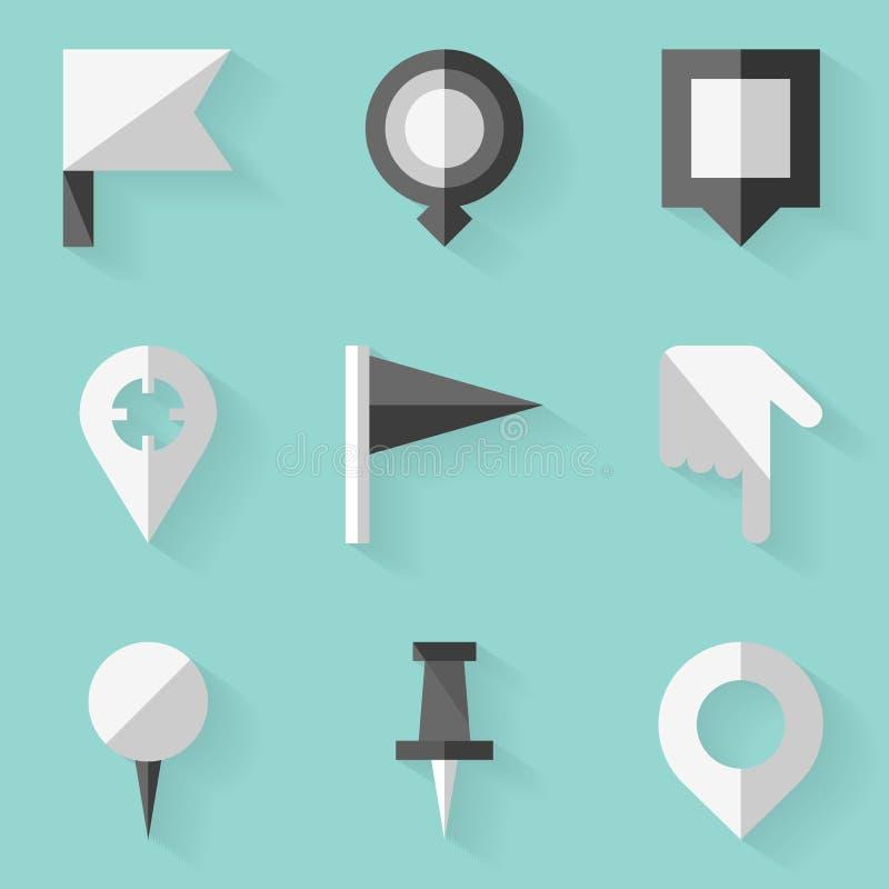 Плоский комплект значка Нажмите карту штыря Белый тип иллюстрация штока