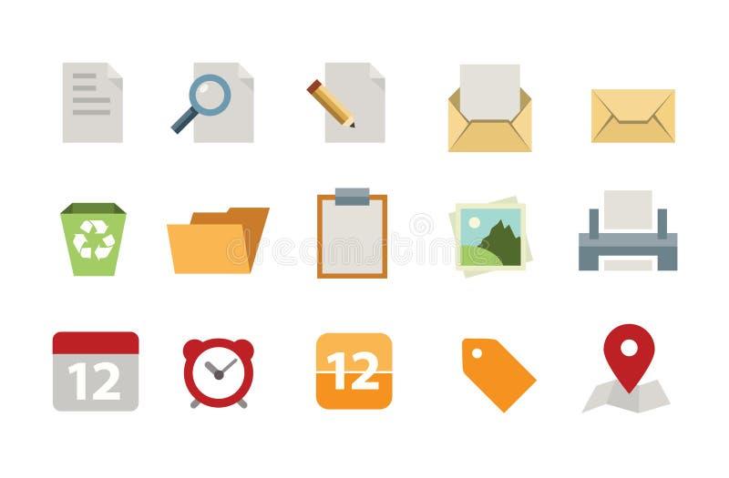 Плоский комплект значка документов бесплатная иллюстрация