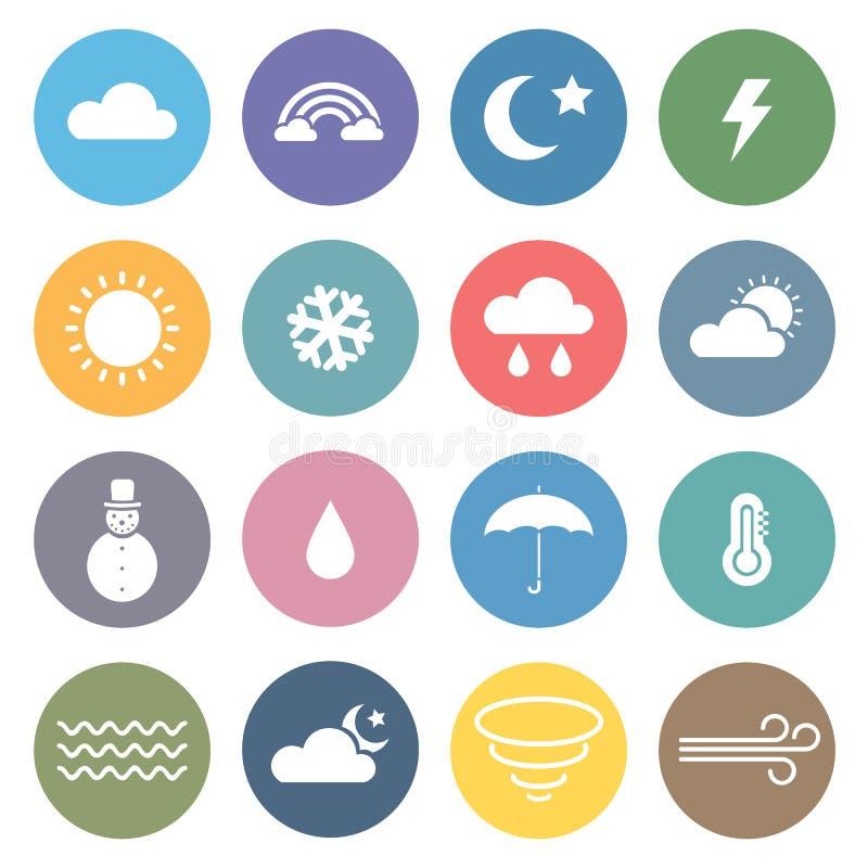 Плоский комплект значка погоды бесплатная иллюстрация