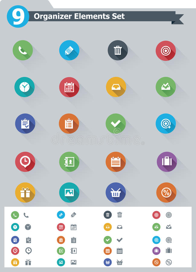 Плоский комплект значка элементов организатора бесплатная иллюстрация